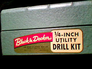 """Vintage Black & Decker Home Utility 1/4"""" Drill with Bits in Case"""