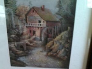 Paper tole picture  of waterfall at the mill