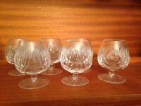 Small crystal brandy glasses x 6