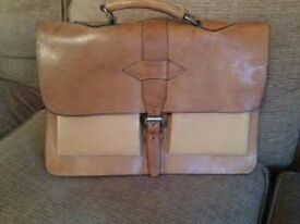 Beautiful tan leather briefcase, mint condition, £12