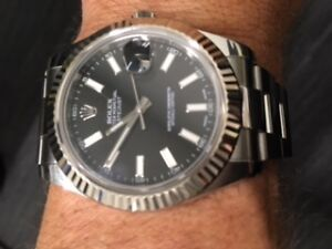 Rolex Datejust 2 116334 with 18kt white gold fluted bezel.