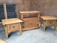 Mexican Pine TV Cabinet and two matching lamp tables