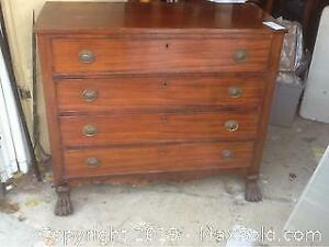 Antique Mahogany Chest With Lion Claw Feet