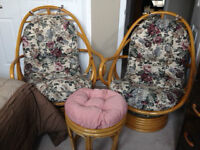 Wicker Chairs and Foot Stool