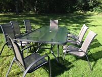 Large Glass Patio Table & Chairs