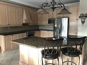 Kitchen Maple Cabinets with Granite Countertop and Backsplash