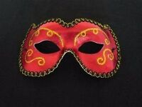 STUNNING RED AND GOLD MASQUERADE BALL MASK