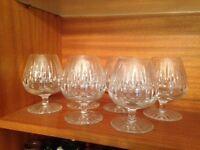 Six Large Crystal Brandy Glasses