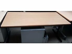 Straight Wooden Office Desk- Has No Cable Port Holes