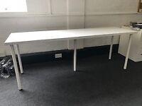 White Long IKEA Office Desk
