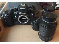 Nikon F4 film camera and lenses