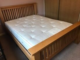 Solid Oak Double Bed Frame with Mattress and Matching Solid Oak Chest of Drawers