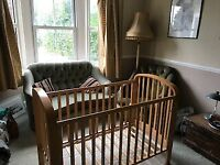 Child cot and bedding for sale