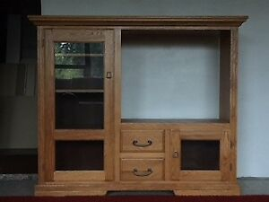 Oak Entertainment Center, and Coffee Table with End Tables