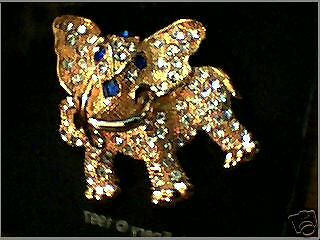 Large Elephant Pin crystals and blue stones
