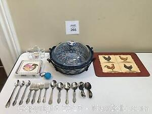 "Temp-Tations ""Old World"" Casserole Dish with Trivet & Baby Cutlery Collection"