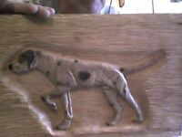 pointer dog relief carving