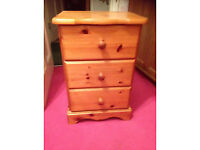 Solid pine bedside table/draws