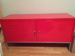 Red Locker-style Cabinet - Metal with lock/key