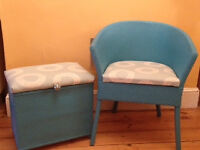 Lloyd Loom style chair and stogare stool