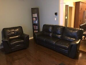 Sofa et fauteuil inclinable en cuir noir ELRAN