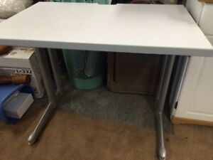 white metal desk