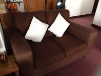Brown two seater sofa and 2 matching arm chairs