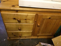 Pine chest of drawers cupboard free to good home