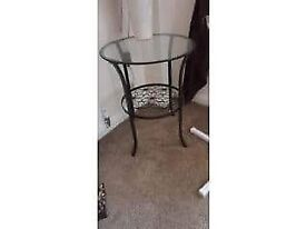 Small metal and glass occasional table.