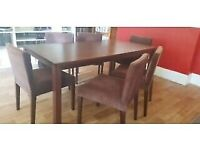 A MODERN MAHOGANY VENEER 6 SEATER DINING TABLE AND 6 MATCHING FABRIC CHAIRS FREE LOCAL DELIVERY