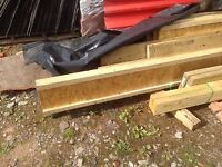FOUR WOODEN I BEAMS FLOOR JOISTS