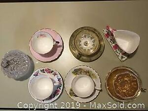 6 Teacup Sets And Candy Dish - A