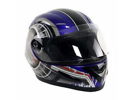 New Full Face Blue Crash Helmet Size Large