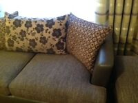 3 seater and 4 seater settee with matching storage footstool
