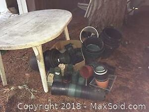 Garden Pots And Plastic Table
