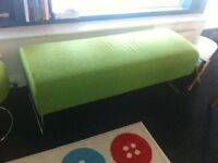 Green bench and stool