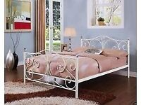 """4FT 6"""" WHITE METAL BED FRAME WITH CRYSTAL FINIALS - NEVER BEEN ASSEMBLED"""