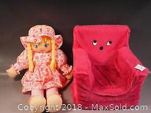 Small child or doll chair and a big soft doll