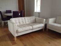 Two-seater White Leather Sofa and Armchair IKEA Karlsfors (now Landskrona) great for playroom/office