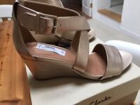 Clarks Size 7 Ladies Gold Low Wedge Sandals BNIB - Current Season, selling for £52 in Clarks