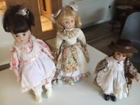 Three Porcelain Face Dolls on stands – all 3 for reduced price of £15!