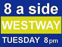 Players Needed for 8 a side Game this Tuesday at 8pm at Westway! Come play football with us!