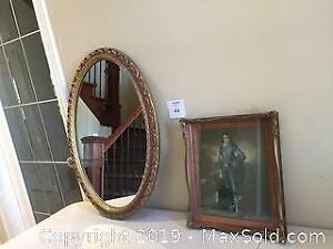 Vintage Oval Wall Mirror & The Blue Boy in Wood Frame