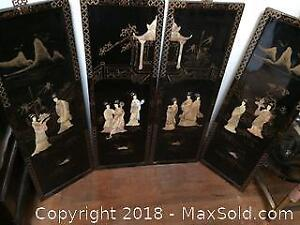Set of Four Black Lacquer Mother of Pearl Asian Panels