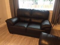 BLACK LEATHER 3 AND 2 SEATER SOFA FOR SALE - 1 YEAR OLD