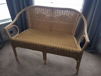 Cane garden bench/seat or for use in conservatory