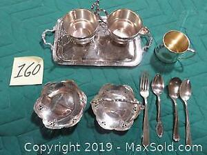 Silver plated: cream & sugar on tray, baby cup, 2 small candy dishes and assorted cutlery