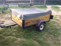 Small car trailer with drop down tailboard