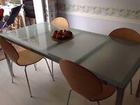Ikea rectangular glass top table - seats 6