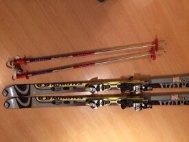 Skis. Salomon 160cm. With bindings and poles